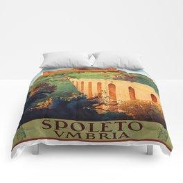 Vintage Spoleto Italy Travel Poster Comforters