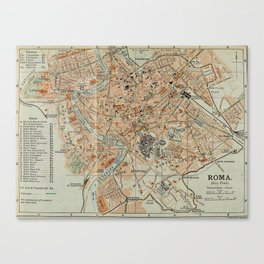 Vintage Map of Rome Italy (1911) Canvas Print