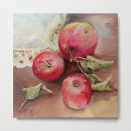 RED APPLES on the table Classic Still life Painting Metal Print