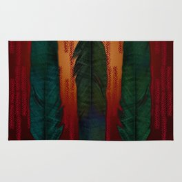 Feathers at campfire Rug