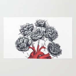 Heart with peonies Rug