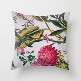 Vintage Bark Cloth Floral, Photo Throw Pillow