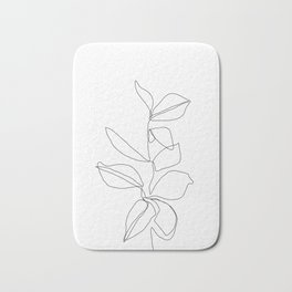 One line minimal plant leaves drawing - Birdie Bath Mat