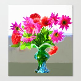 Green vase with bright colors Canvas Print
