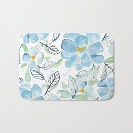 Blue flower garden watercolor Bath Mat