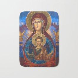 Madonna and Child Icon Virgin Mary Byzantine Orthodox Art work Bath Mat