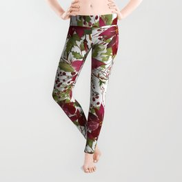 Poinsettia Flowers Leggings