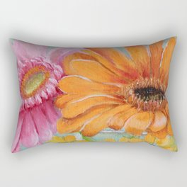 Gerber Daisy Retro Glass Painting Rectangular Pillow