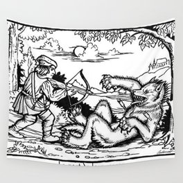 Werewolf Hunting medieval style Wall Tapestry