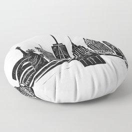 Linocut New York Floor Pillow
