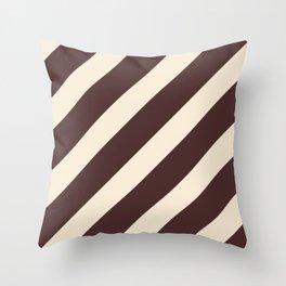 Antique White and Coffee Brown Diagonal Stripes Throw Pillow