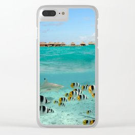 Diving with sharks on Bora Bora Clear iPhone Case