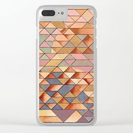 Triangles Circles Golden Sun Clear iPhone Case