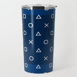 Playstation Controller Pattern - Navy Blue Travel Mug