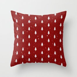 Cristmas Trees Pattern Red And White Throw Pillow
