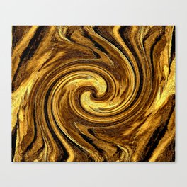 Gold Brown Abstract Sun Rotation Pattern Canvas Print