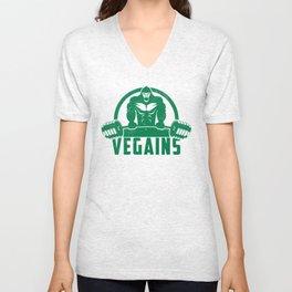 Vegains Vegan Muscle Gorilla - Funny Workout Quote Gift Unisex V-Neck