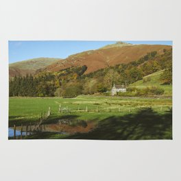 Cottage and flooded field. Grasmere, Lake District, UK. Rug