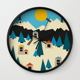 A Sunny Winter Day in the Mountain Village Wall Clock