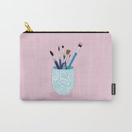 Paintbrushes in a Tea Cup Carry-All Pouch