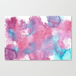 Pink, Purple and Blue Abstract Watercolour Canvas Print