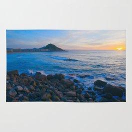 Sunset blue and orange. San Sebastian, Spain. Rug