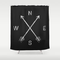 black Shower Curtains featuring Compass by Zach Terrell
