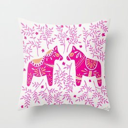 Swedish Dala Horses – Pink Palette Throw Pillow