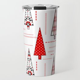 Seamless christmas applique patchwork pattern Travel Mug