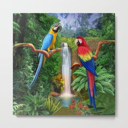 Macaw Tropical Parrots Metal Print