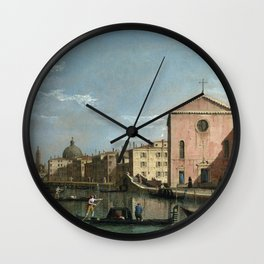 Venice, The Grand Canal facing Santa Croce by Follower of Canaletto Wall Clock