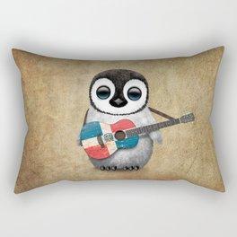Baby Penguin Playing Dominican Flag Acoustic Guitar Rectangular Pillow