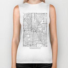 Minneapolis Map White Biker Tank