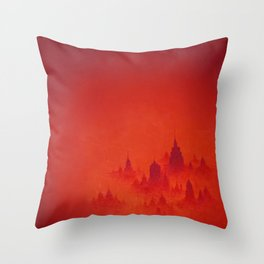 Red City Dusk Archival Giclee Print - Red Modern Art for the Office - Contemporary Wall Art Throw Pillow