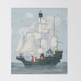a nautical adventure Throw Blanket
