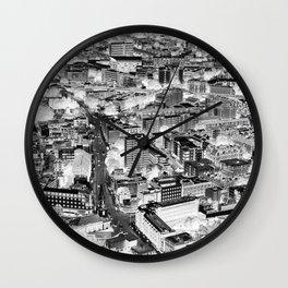 Inverted London Skyline Monochrome Wall Clock