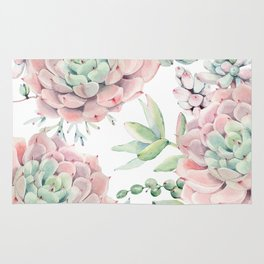 Pink Succulents by Nature Magick Rug
