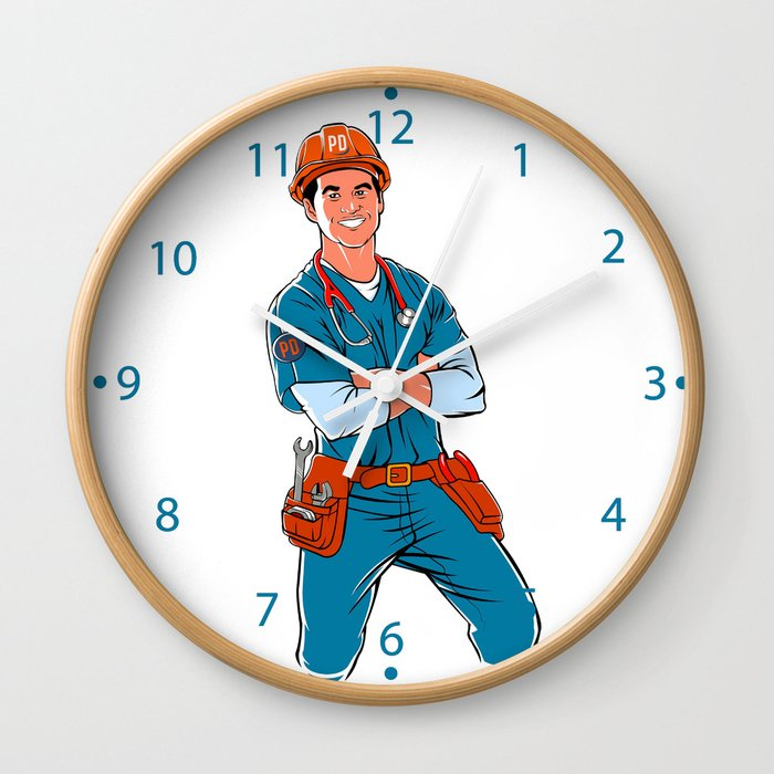 illustration of handyman with stethoscope Wall Clock