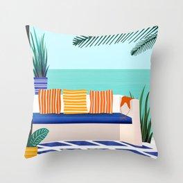 Bali Villa - Ocean View Throw Pillow