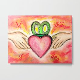 Irish Valentine Wedding Anniversary, Claddagh oil pastel card With Love Forever Metal Print