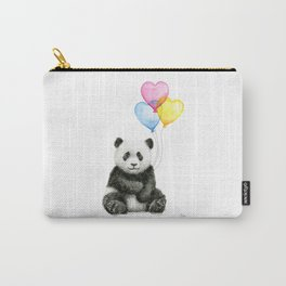Panda Baby with Heart-Shaped Balloons Whimsical Animals Nursery Decor Carry-All Pouch