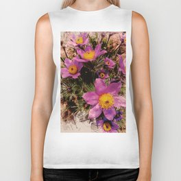 pasque-flower watercolor Biker Tank