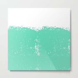 Abstract teal white modern artistic paint brushstrokes Metal Print