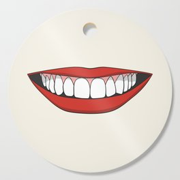 Smiling female mouth with healthy teeth Cutting Board