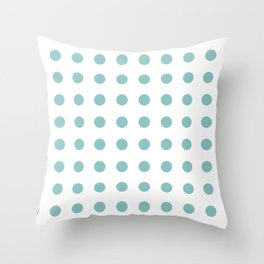 Chalky Blue Polka Dots Throw Pillow