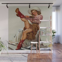 Cowgirl Putting On Red Boots Wall Mural