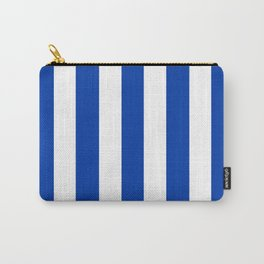 Royal azure - solid color - white vertical lines pattern Carry-All Pouch