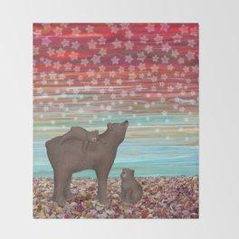 brown bears and stars Throw Blanket