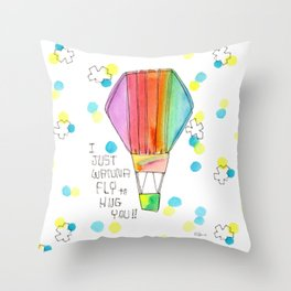 Just Wanna Fly hot air balloon illustration nursery decor kids room watercolor painting Throw Pillow