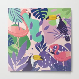 Tropical Jungle With Flamingos And Toucans Memphis Style Metal Print